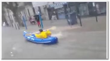 Du kayak dans les rues de Montpellier