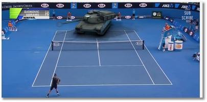 Djokovic contre un char !
